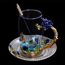 Top Gifts Blue Flower Enamel Glass Tea Cup