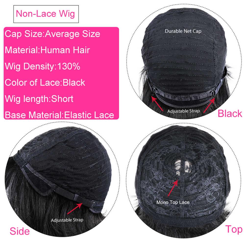 Kurze Bob Perücken Brasilianische Menschliches Haar Perücken Natürliche Schwarze Kurze Cut Gerade Perücke Mit Pony Volle Maschine Perücken Für Schwarz frauen