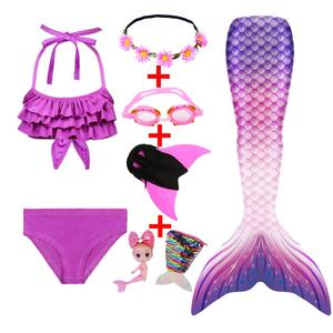 Girls Mermaid Tail for Kids Swimming Bating Suit Mermaid Costume Swimsuit Goggle Mermaid Doll with Purse