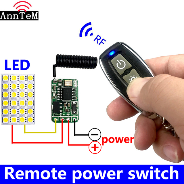 433mhz RF DC 3.7V 4.5V 6v 12V Battery Power Mini Wireless Remote Control Switch LED Lamp Controller Micro Receiver Transmitter