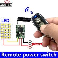 433mhz RF DC 3.7V 4.5V 6v 12V pil gücü Mini kablosuz uzaktan kumanda anahtarı LED lambası kontrol mikro alıcı verici