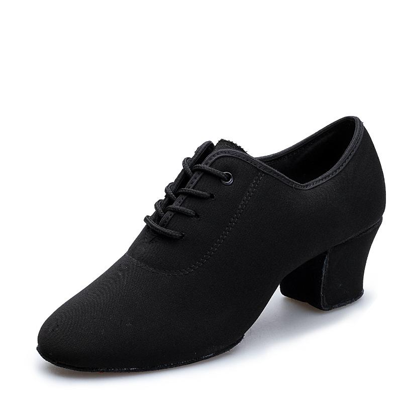 Woman Latin Salsa for Dancing Adult Two Point Soles Teacher Soft Oxford Cloth Ballroom 5cm Cuban Heels for Women Dance Shoes