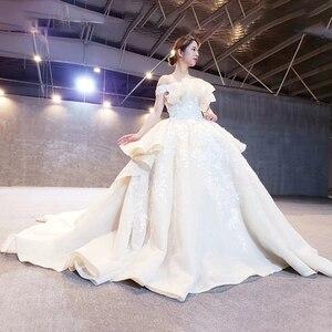 Image 3 - HTL163G 特別ウェディングドレス白のような純粋なをショルダーレースアップバック高級ウェディング 2019 新ファッションデザイン