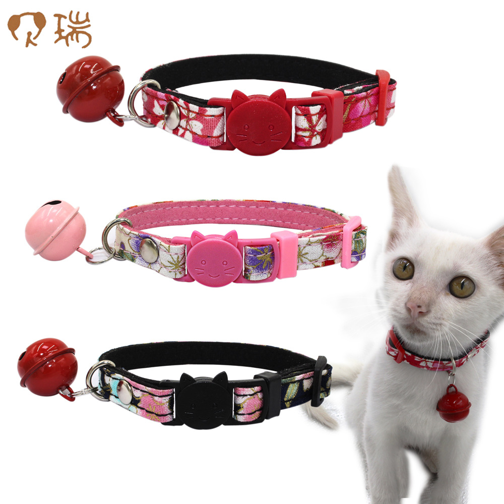Cat Head Safety Buckle And Wind Cat Neck Ring With Bell Small Dog Chain Printed Pet Collar Berry New Style