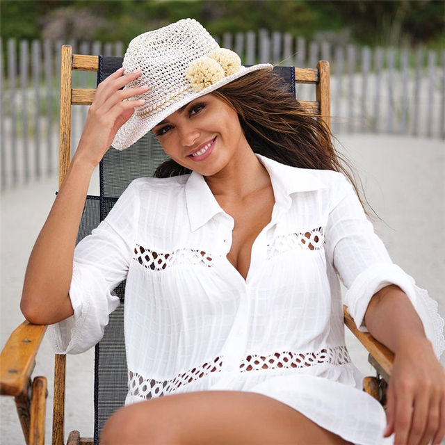 2021 Sexy White Dress Beach Tunic White Casual Simplicity Turn Down Collar Long Sleeve Hollow Out Cotton Summer Mini dress N1048 2
