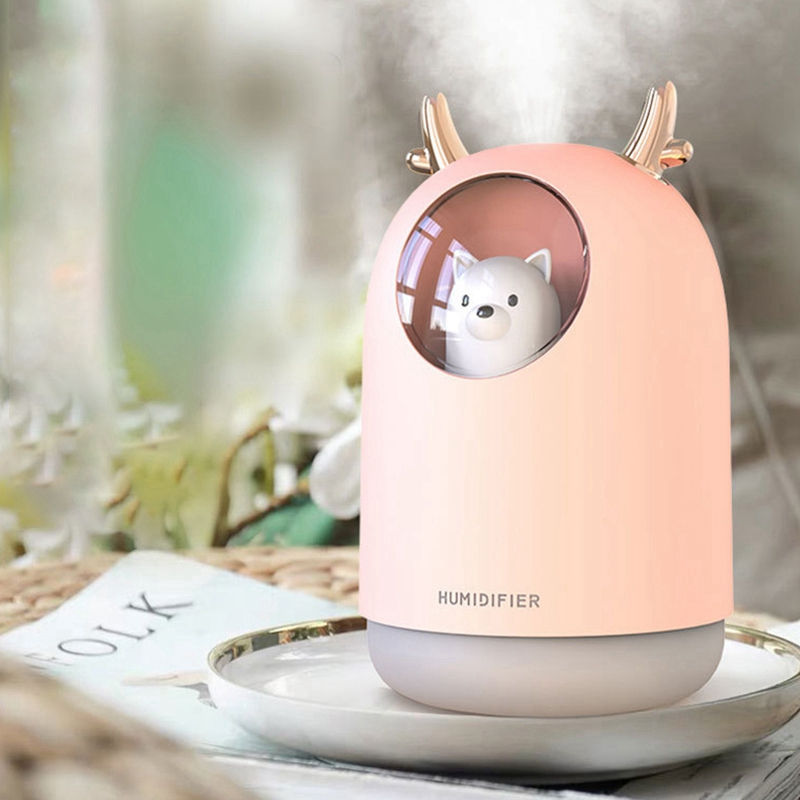 300ML Cute Pet Ultrasonic Air Humidifier Aroma Essential Oil Diffuser for Home Car USB Fogger Mist Maker with LED Night Lamp|Humidifiers| |  - title=