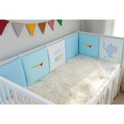 6Pc Toddler Crib Bumper Pads Universal Breathable Cotton Baby Safety Bedding Set  NEW