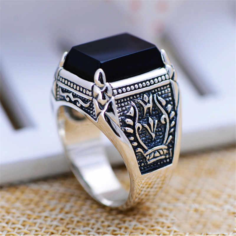 خامسا 925 خاتم فضة للرجال الإناث محفورة الأسود الزركون موضة خاتم فضة التايلاندية