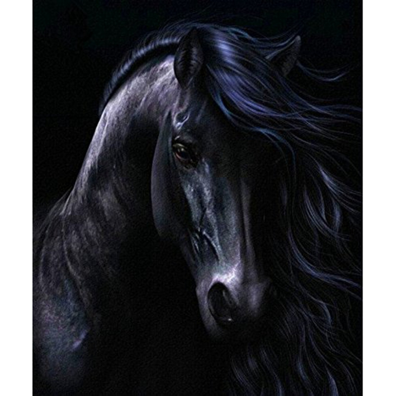 Diy Diamond Painting Black Horse Handicraft Sewing Art Embroidery Rhineston Cross Stitch Decoration 30X40Cm(12X16 Inch)