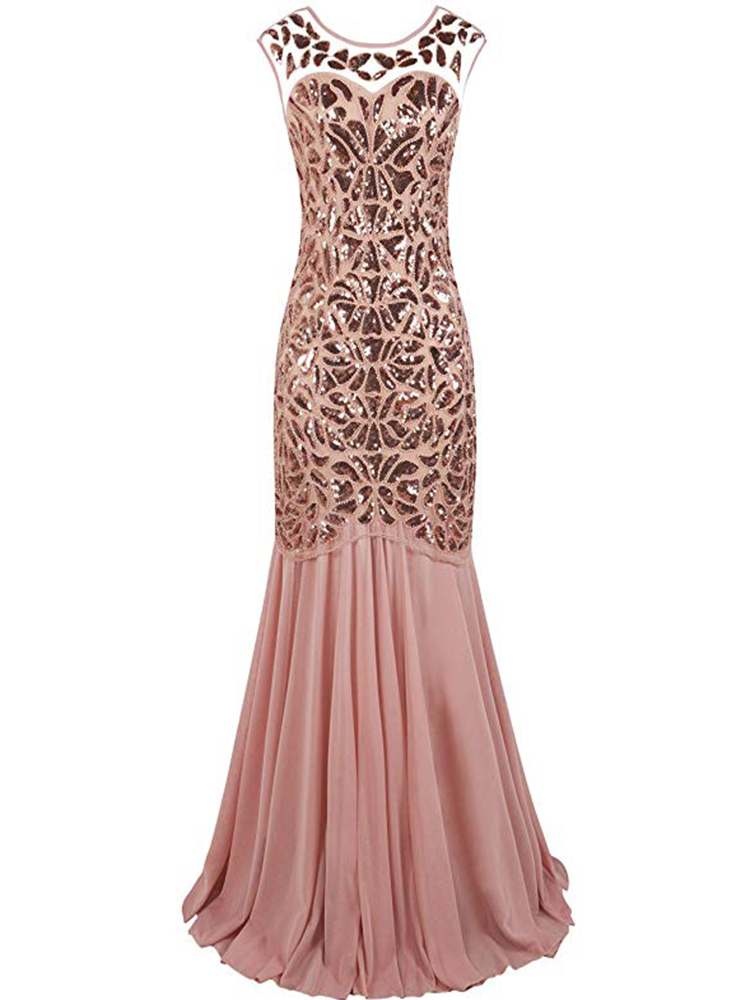 Black Gold Sequins Beading Long   Evening     Dresses   Gorgeous Formal Round Neck Lace Long Sexy Red Women Party 2019 Special Occasion