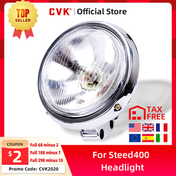 CVK Motorcycle Universal DC 12V Headlight Headlamp For Harley 883 HONDA Steed VLX 400 Shadow 600 Magna 250 Chrome Running Light motorcycle turn signaling lights for honda magna 250 750 shadow 400 600 1100 dlx vtx1300 180
