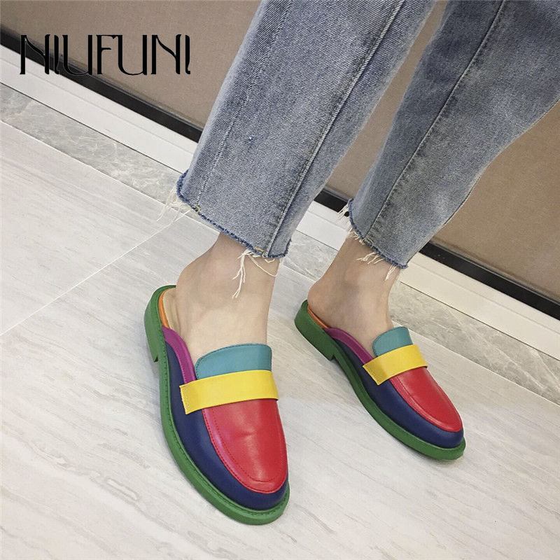 NIUFUNI Fashion Rainbow Color Women's Slippers Shallow Casual Slides Round Head Flat Shoes Slip On 2020 Summer Beach Shoes