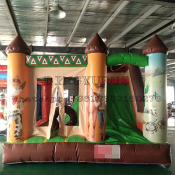 Odkryty piękny projekt nadmuchiwany bramkarz Mini Bounce Combo zamek do skakania trampolina z łączoną zjeżdżalnią tanie i dobre opinie DINGYURUI 3 lat Nadmuchiwany plac zabaw dla dzieci Plac zabaw na świeżym powietrzu Inflatable bouncer 4*4*3m customized