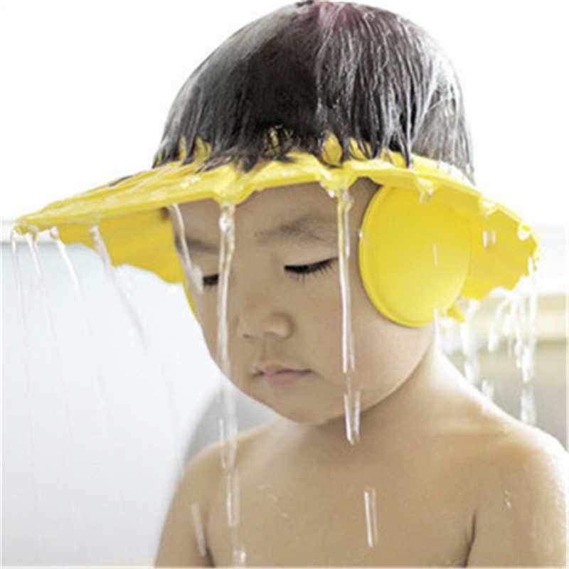 3 cores quente eva criança bebê crianças banho chuveiro olho protetor de ouvido cabeça capa de lavagem cabelo boné