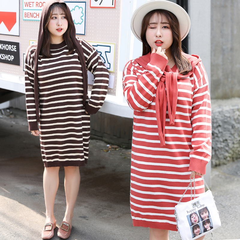 [Xuan Chen] Fat Mm Korean-style Sweater Thin Contrast Color Stripes Sweater Dress Autumn New Style Casual Skirt On Behalf Of M04