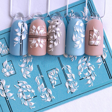 1pc 3D Acrylic Engraved Nail Sticker Embossed White Color Flower Water Decals Empaistic Nail Water Slide Decals Z0358