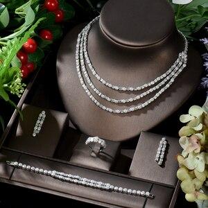 Комплект свадебных украшений hibrid, роскошный комплект из 4 предметов с фианитом класса ААА, для женщин, свадебный подарок, аксессуары, бижуте...
