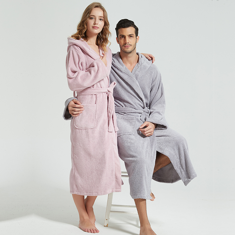 Winter Men Bathrobe Hooded 100% Cotton Thick Warm Towel Cotton Dressing Gowns Long Bath Robe Hotel Spa Soft Bridesmaid Robe