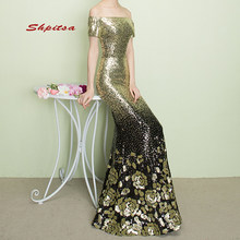 Sexy Gold Long Mermaid Evening Dresses Party Plus Size Ladies Sequin Prom Women Formal Dresses Evening Gown(China)