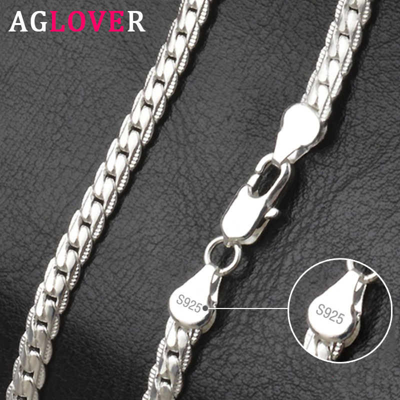 AGLOVER 925 Sterling Silver 20 Inch 18k Gold 6mm Full Sideways Chain Necklace For Women Man Fashion Jewelry Charm Necklace Gift