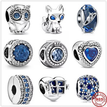 New Original Silver Shiny Sky Ocean Blue Fox Owl Bead fit Pandora charms silver 925 beads Bracelet for women diy fashion jewelry cheap Niezx 2~5 g CN(Origin) 43589939 Zircon 925 Sterling silver charm CCGTC Irregular Fine 1~2 5 cm