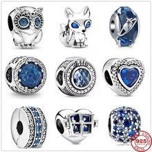 Bracelet Original en argent brillant pour femmes, 925 perles, hibou, renard bleu, breloques Pandora, bricolage de bijoux à la mode