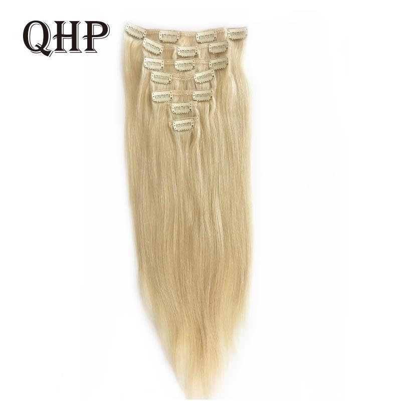 70 г 100 г 120 г человеческие волосы для наращивания на заколках, бразильские прямые волосы Remy #1 # 1B #4 #8 #613 #27 12 дюймов-24 дюйма 7 шт./компл., полная го...