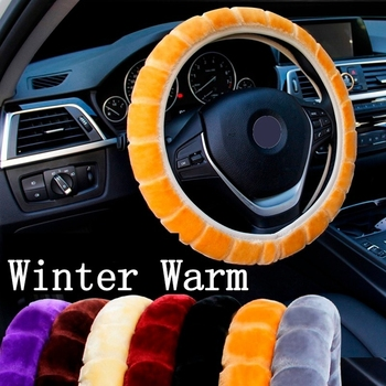 Universal Warm Long Wool Plush Car Steering Wheel Cover Comfortable Anti-slip For 36-39cm Car Styling Steering-wheel image