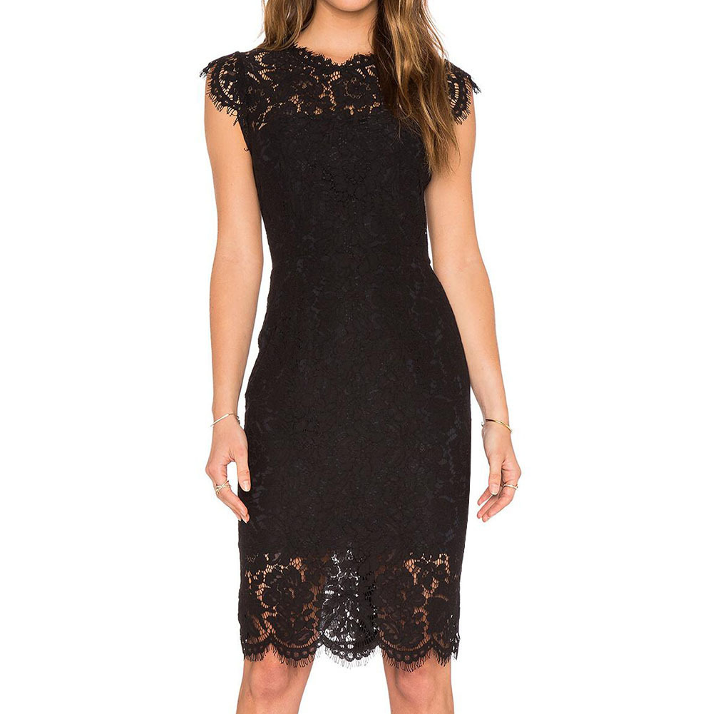 BacklakeGirls Elegant Round Neck Little Cap Sleeve Straight Lace Cocktail Dress Knee-Length Sexy Cocktail Party Dress Vestidos