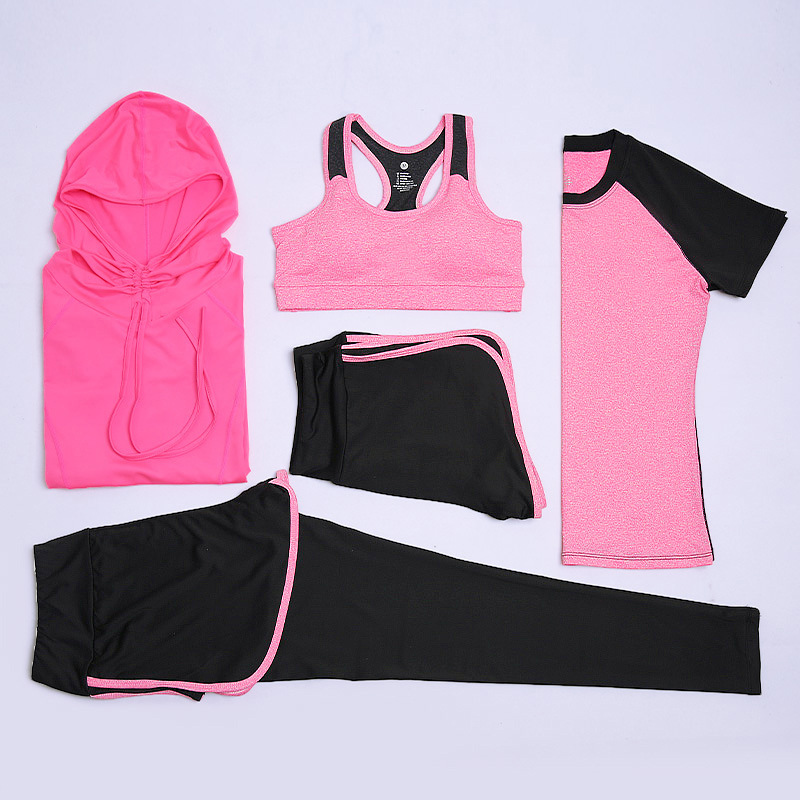 Autumn And Winter New Style Slimming Yoga Clothes Outdoor Fitness Sports Set Sweat Absorbing Quick-Dry Five-Piece Manufacturers