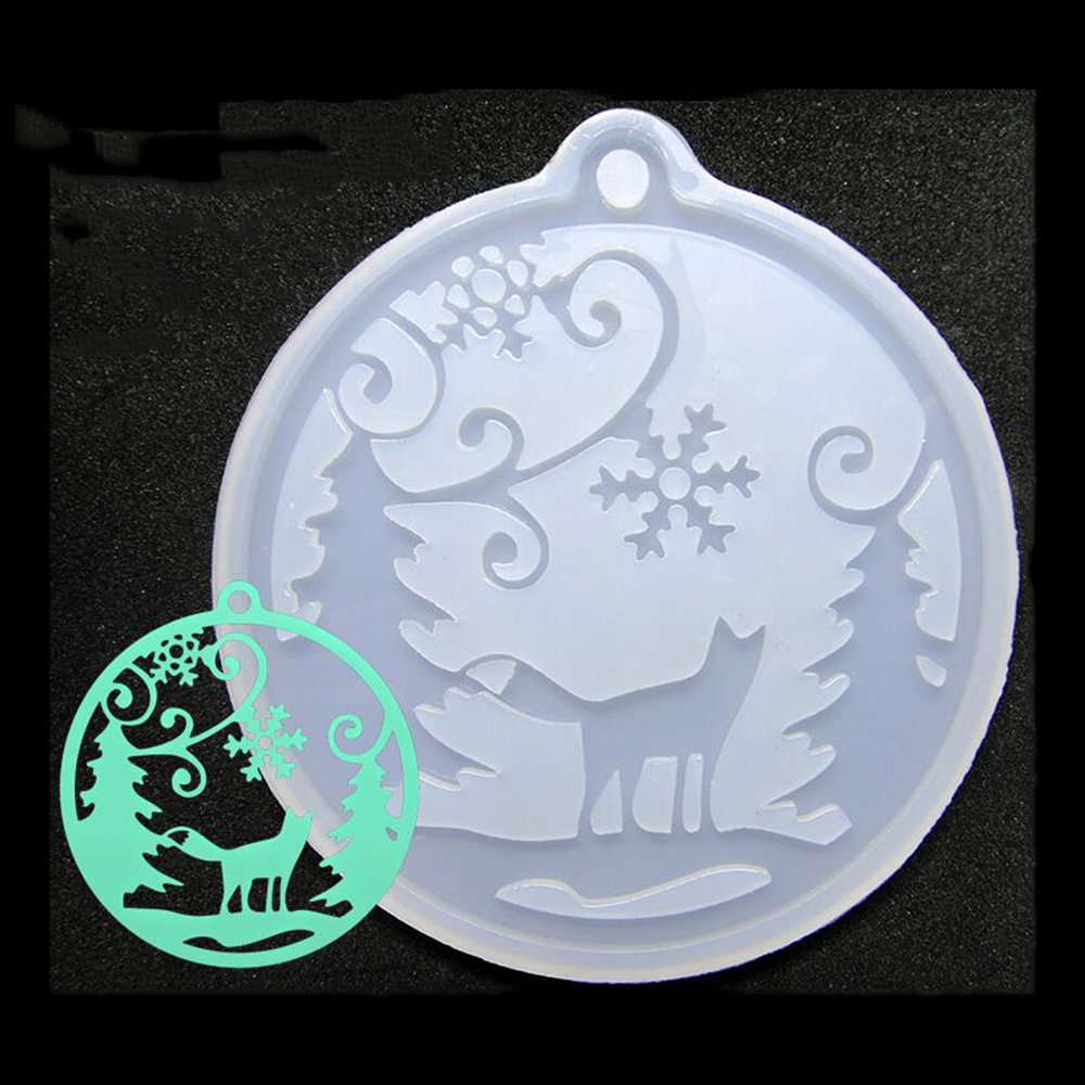 Popular DIY Handmade Snow Fox With Hole Pendant Ornaments Crystal Glue Silicone Mold Jewelry Accessories Decoration Mould