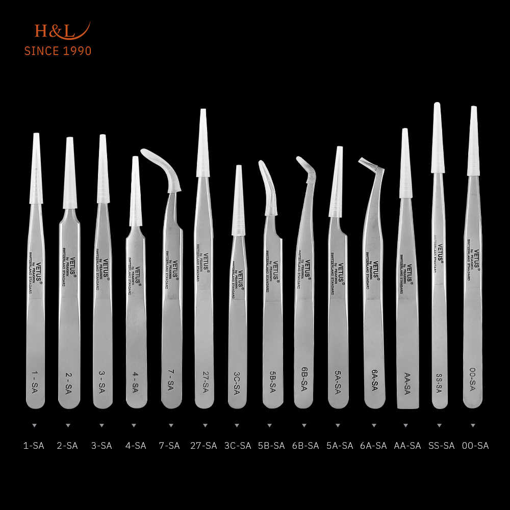 H&L SINCE 1990 High Quality professional for  Lashes Eyelash Extension  Tweezers  SA Tweezers