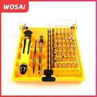 Wosai 45in1 multi-purpose precisão chave de fenda de mão magnética conjunto de ferramentas de mão doméstico para pc kit de reparo do telefone iphone