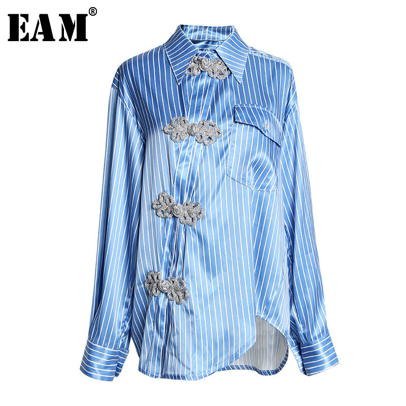 [EAM] Women Blue Oblique Button Big Size Blouse New Lapel Long Sleeve Loose Fit Shirt Fashion Tide Spring Autumn 2020 JT2030