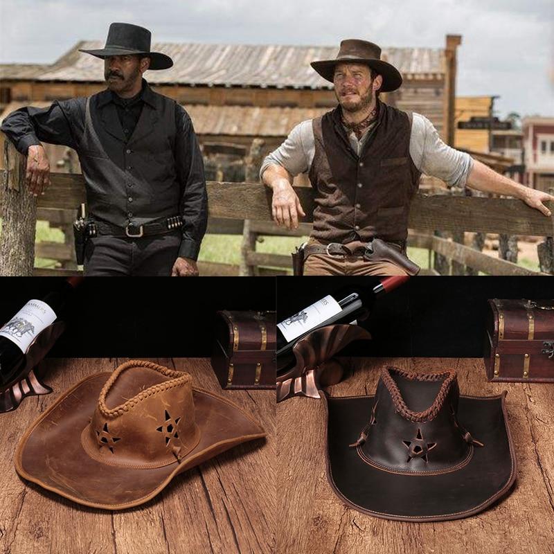 High genuine leather Western Cowboy Hats Men Sun Visor Cap Women Travel Performance Western Hats Chapeu Cowboy 4 colors