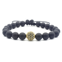 Simple Gold Colors 10mm Bead inlay CZ Bracelets for Men Woman Black Lava Stone Charm Adjustable Hand Jewelry gift DropShipping