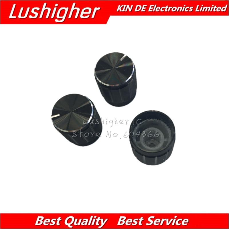 10pcs 15*17mm Aluminum Alloy Potentiometer 15*17 Knob Rotary Switch Volume Control Knob Black
