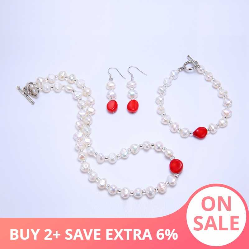 DAIMI Freshwater Pearl  Pearl Set 8-9mm Red Coral Necklace Bracelet Earrings Set Jewelry Gift For Women