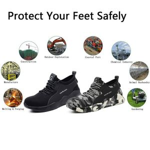Image 5 - Safety Work Shoes Mens Sneakers With Steel Toe Cap Camouflage Indestructible Shoes Lightweight Breathable Working Boots