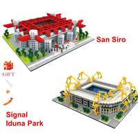 City Construction Assemble Architecture San Siro Football Field Signal Iduna Park Stadium Building Blocks Model Bricks Toys Gift