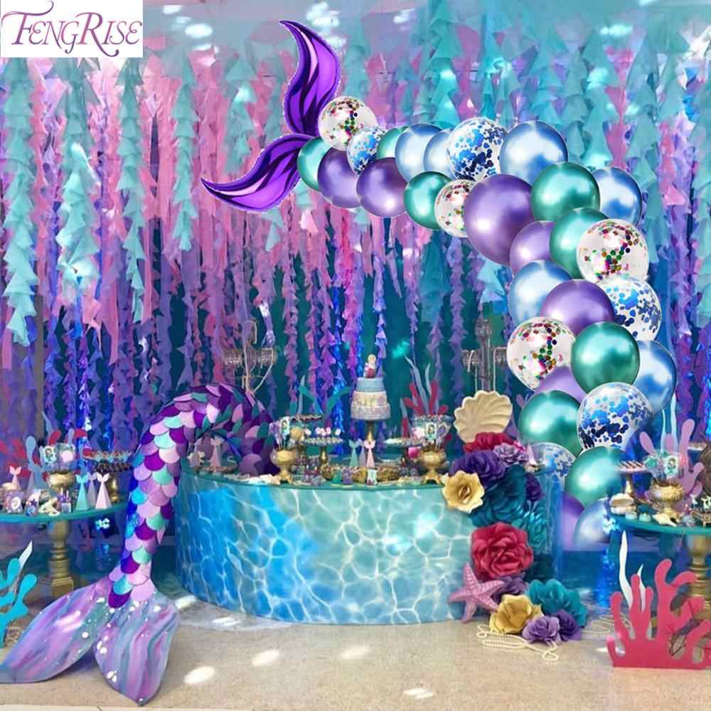 FENGRISE Little Mermaid Party Supplies Theme Mermaid Decor Mermaid Birthday Decor For Kids Favor Happy Birthday Wedding Party