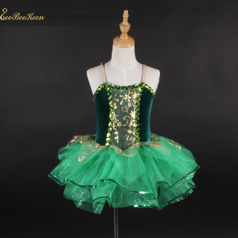 Tutu Ballet For Girls Dark Green Sling Sequins Ballet Dress For Children Ballet Modern Costume Stage Performance Dance Dress
