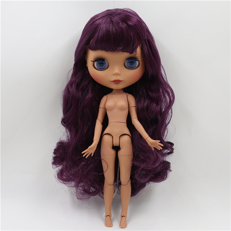 Neo Blythe Doll with Purple Hair, Dark Skin, Matte Face & Jointed Body 1
