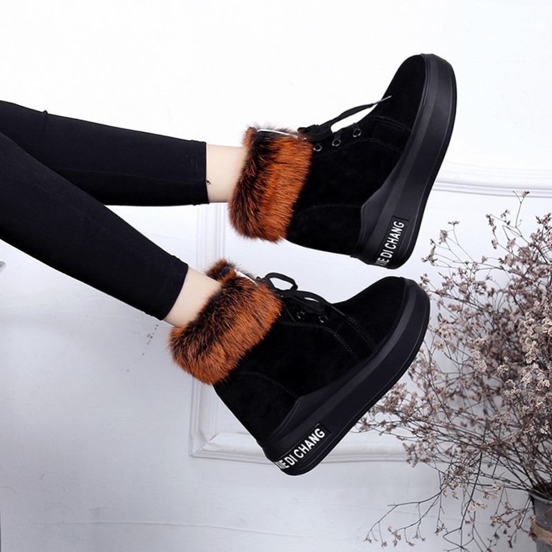 Women's Short Boot High Heel Boots Low Heels booties Shoes Bootee Woman 2019 Round Toe Australia Plush Booties Ladies Lace Up 39