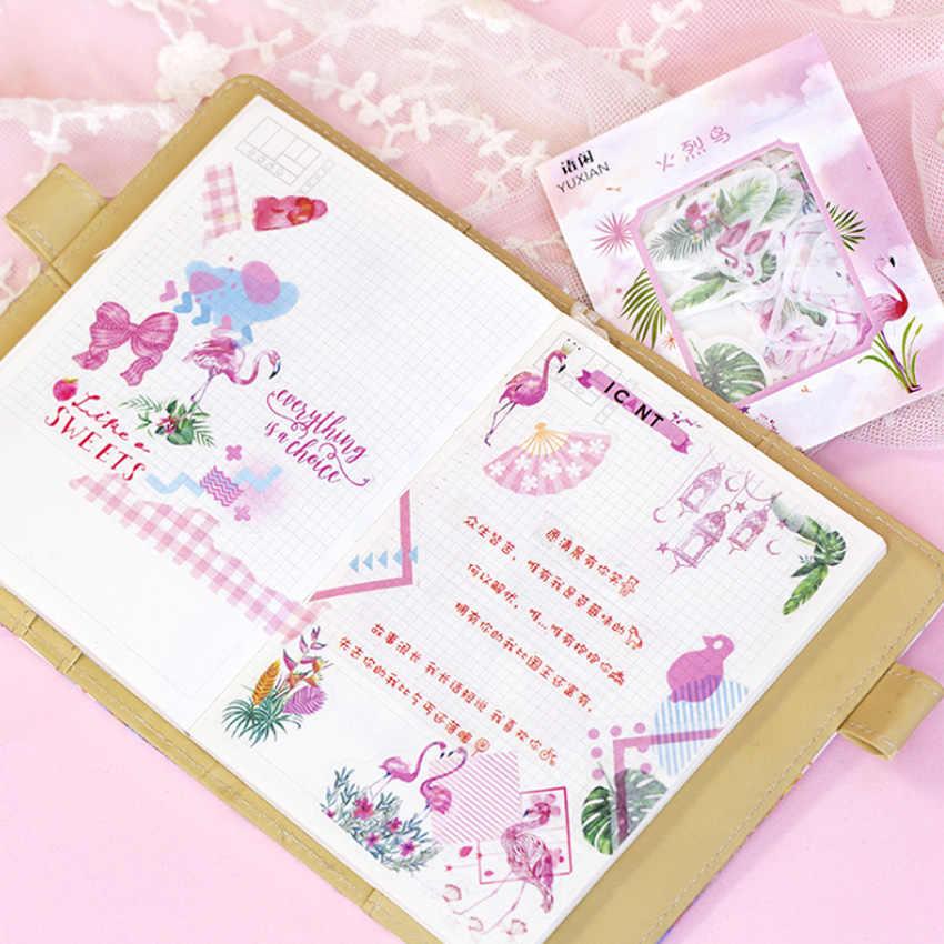 40 PCS/Banyak Warna Pink Seri Bunga Buah Flamingo Stiker Kertas Indah Stiker untuk Anak-anak DIY Diary Scrapbooking Foto Ablums