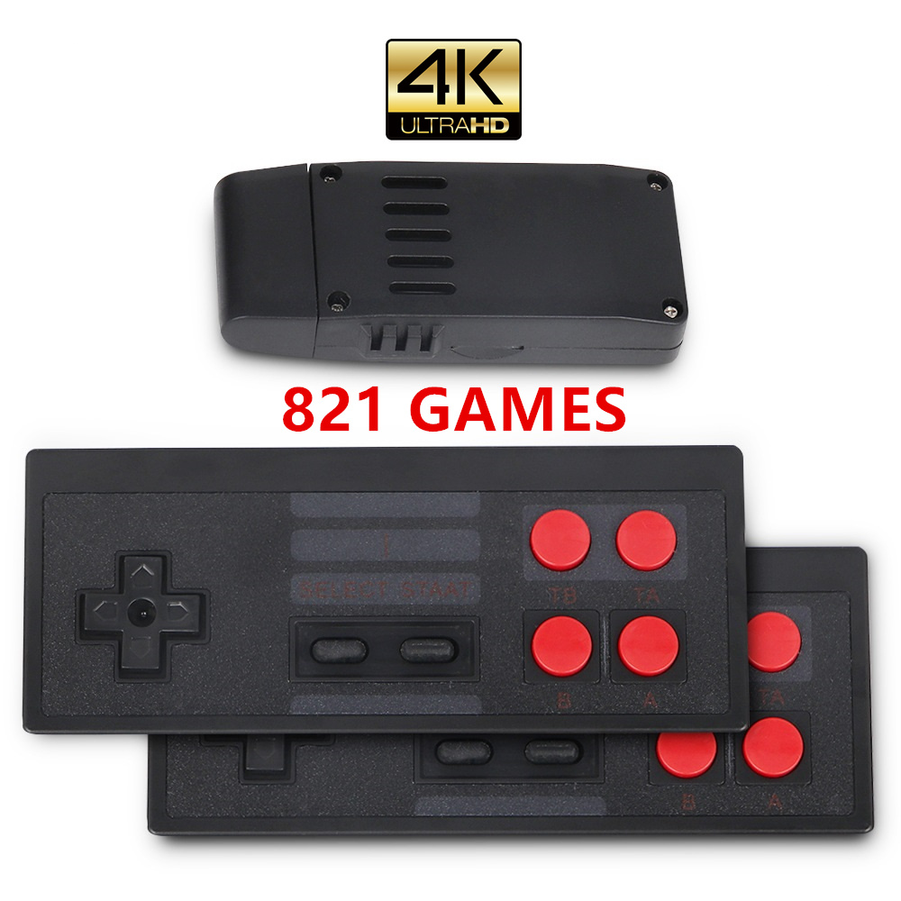 4K HDMI Video Game Console Built in 821 Classic Games 8 Bit Mini Retro Console 2 4G Wireless Controller HDMI Output Dual Players