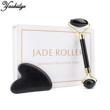Jade Roller Face Lift Guasha Massage Set Obsidian Facial Massage Heart-shaped Natural Stone Roller Anti Wrinkle Beauty Skin Care
