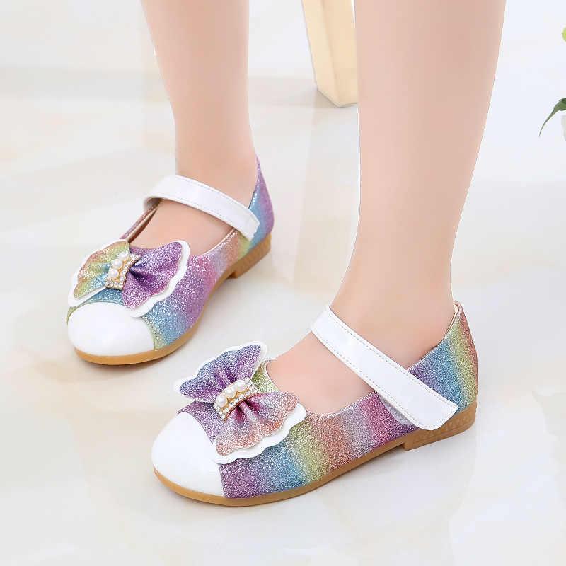 JGSHOWKITO Toddlers bebek kız ayakkabı çocuklar deri ayakkabı düğün parti için doğum günü dans büyük kız çocuk ayakkabı papyon boncuklu