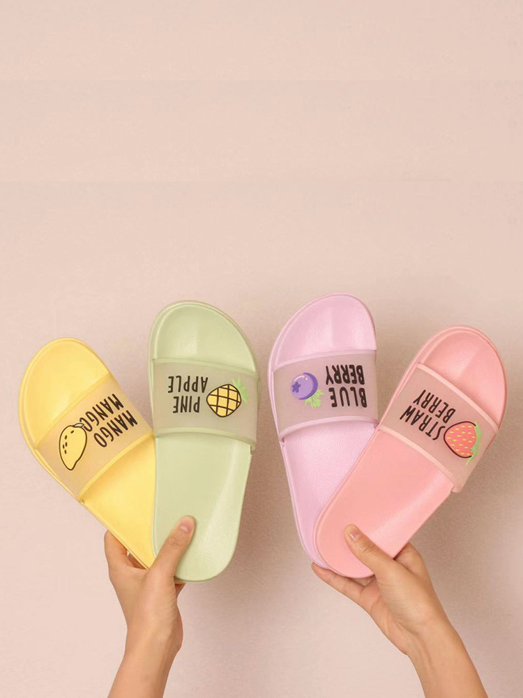 Shoes Women Sandals Flip-Flops Summer Slippers Clear Fruit Open-Toe Jelly-Color Transparent