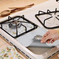 4 pçs fogão a gás protetor capa forro antiaderente folha de alumínio máquina de lavar louça folha de proteção segura acessórios de cozinha|null| |  -